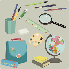 Set of school supplies. Office supplies. vector