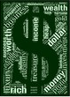 Tag cloud in a shape of dollar with money terms.