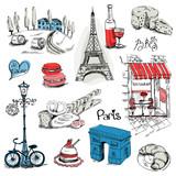 Paris Illustration Set - for design and scrapbook - in vector - 52735999
