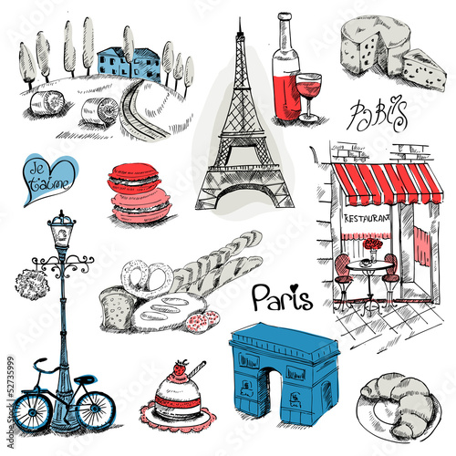 Paris Illustration Set - for design and scrapbook - in vector
