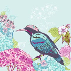 Bird with Flowers Background - for design and scrapbook - in vec