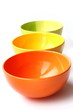 Three colored bowls
