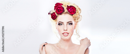 Hairstyle style - beautiful sexy female art portrait with roses