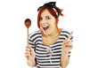 Beautiful pinup style housewife with wooden spoon