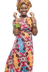 African fashion model on white background.