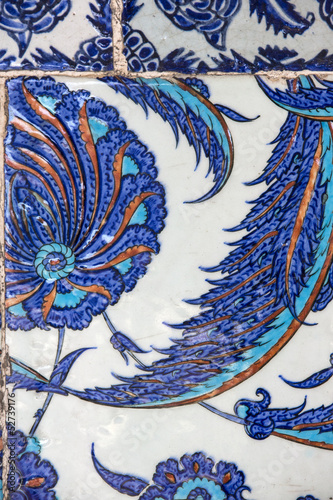 Macro view of tiles in Rustem Pasa Mosque, Istanbul