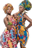 Two African fashion models on white background.