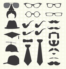 Vector Set: Retro Fashion Elements Including Mustaches