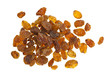Pile of yellow sultana raisins on white