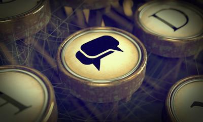 Social Media Key on Grunge Typewriter.