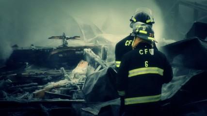 Firefighters Battling Winter Blaze