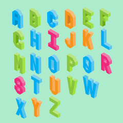 Colorful isometric typography vector