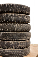 Stack of sixwheel tyres