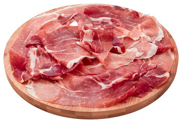delicious sliced ham on wooden board