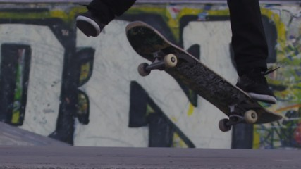 Slow Motion Skateboard Trick Close Up