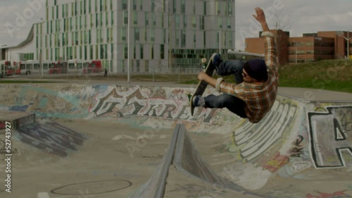 Skateboarder Slow Motion Back Flip