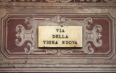 Renaissance street sign in Florence, Italy