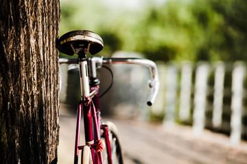 Road bicycle on city street, summer urban scene
