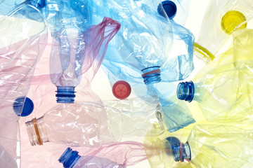 plastic bottles and bags background
