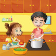 A young girl and boy at the kitchen