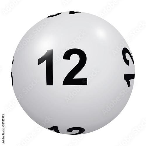 Loto, boule blanche numéro 12