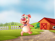 A playful pig with a barn at the back