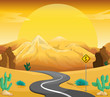 A winding road at the desert