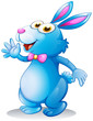 A blue bunny waving