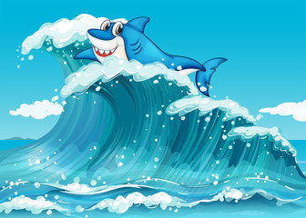 A shark above the big waves