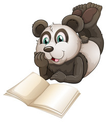 A panda with an empty book