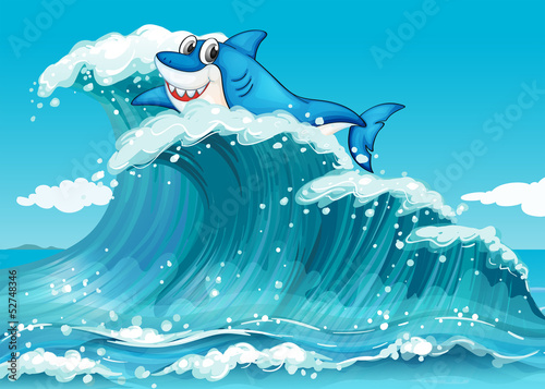Wall mural A shark above the big waves