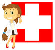 The flag of Switzerland at the back of a doctor