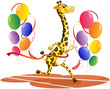A giraffe running with colorful balloons