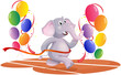 An elephant running with balloons