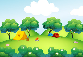Camping tents at the top of the hill