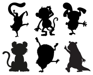 Silhouettes of animals in black and gray colors