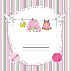 Baby girl card. Space for photo or text