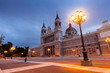 Almudena cathedral in evening. Madrid