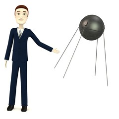 3d render of cartoon character with sputnik
