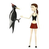 3d render of cartoon character with woodpecker