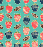 Bright childlike seamless floral pattern with berries poster
