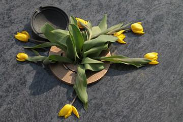 Verwelkte Tulpen auf einem Grab