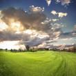 beautiful sunset on a golf field
