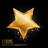 Vector 100% satisfaction guarantee background with gold star