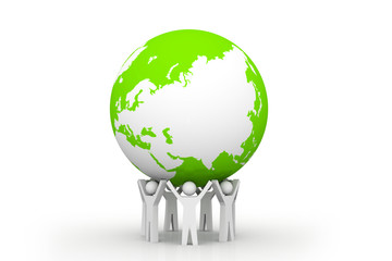 The strong unity. 3d people holding  green earth.