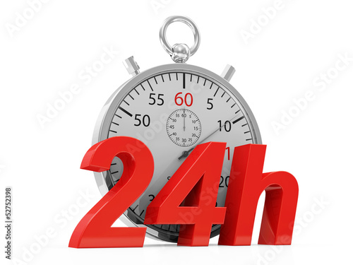 Stopwatch and 24h symbol isolate on white background