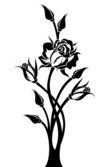 Black silhouette of branch with rose and buds. Vector.