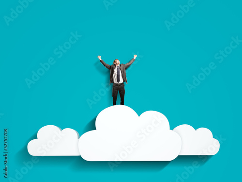man on clouds