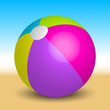 Vector illustration of inflatable beach ball on the beach
