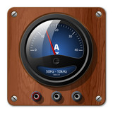 Vector ammeter icon on the wooden plate